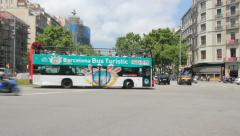 Traffic on Gracia Street, Barcelona Stock Footage
