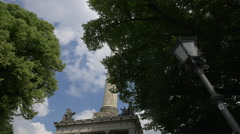 View of the beautiful Friedensengel in Munich Stock Footage
