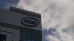 Intel logo, office building, Dalian, China Stock Footage