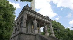 Statues at the Angel of Peace Monument in Munich Stock Footage