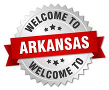 Arkansas 3d silver badge with red ribbon - stock illustration