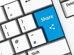 Computer keyboard share - stock photo