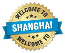 Shanghai 3d gold badge with blue ribbon Stock Illustration