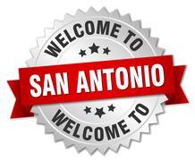 San Antonio 3d silver badge with red ribbon - stock illustration