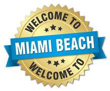 Miami Beach 3d gold badge with blue ribbon - stock illustration