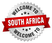 South Africa 3d silver badge with red ribbon Stock Illustration