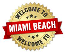Miami Beach 3d gold badge with red ribbon Stock Illustration