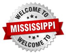 Mississippi 3d silver badge with red ribbon - stock illustration