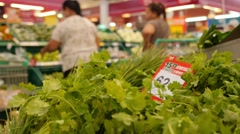 Variety of Green Vegetables in a Supermarket. Healthy Lifestyle Stock Footage