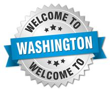 Washington 3d silver badge with blue ribbon - stock illustration