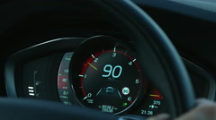 Car odometer speed limit 90 kph Stock Footage