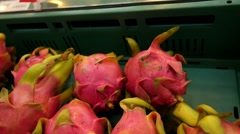 Exotic Tropical Dragon Fruit on Market Stand, Thailand Stock Footage