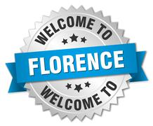 Florence 3d silver badge with blue ribbon - stock illustration