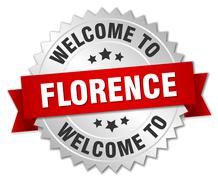 Florence 3d silver badge with red ribbon - stock illustration