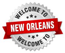 New Orleans 3d silver badge with red ribbon Stock Illustration