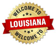 Louisiana 3d gold badge with red ribbon - stock illustration