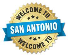 San Antonio 3d gold badge with blue ribbon - stock illustration