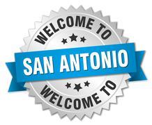San Antonio 3d silver badge with blue ribbon - stock illustration