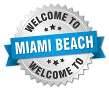 Miami Beach 3d silver badge with blue ribbon - stock illustration