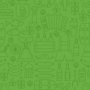 Thin Line Oktoberfest Holiday Seamless Green Pattern - stock illustration