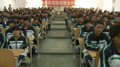 Chinese college, students, lecture hall Stock Footage