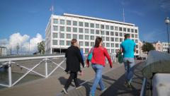Famous building in Helsinki is designed by Alvar Aalto and called Sokeripala Stock Footage