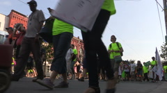 Toronto labor day parade as thousands of workers protest for labour unions Stock Footage