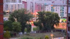 Traffic behind park timelapse Stock Footage