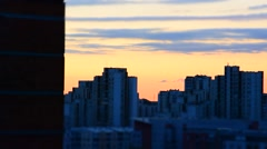 Late summer sunset in the city Stock Footage