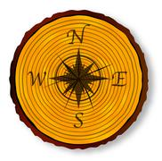 Compass Face On Timber Section - stock illustration