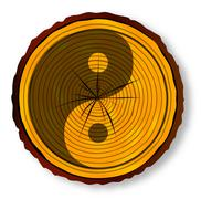 Yin Yang On Timber Section - stock illustration