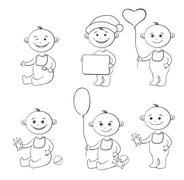Cartoon children with toys, outline Stock Illustration