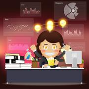business woman with many arms working on computer with idea bulb - stock illustration