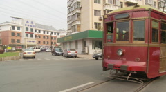 Old tram, Chinese street, China Stock Footage