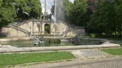 The beautiful fountain from Maximiliansanlagen in Munich Stock Footage