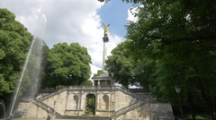 The Angel of Peace monument and the fountain in front of it, Munich Stock Footage