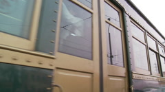 Traditional tram, Chinese writing, China Stock Footage