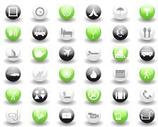 travel icons set - stock illustration