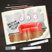 Interior Sketchbook Illustration - stock illustration
