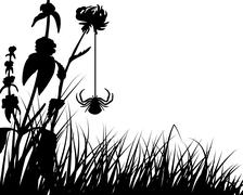 Meadow silhouettes Stock Illustration