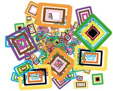 Rectangle stroke elements vector background in different coloros - stock illustration