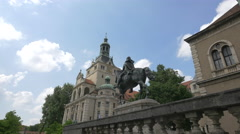 Prince Regent Luitpolt statue and the Bavarian National Museum, Munich Stock Footage