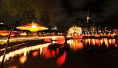 Amusement park by night - stock photo