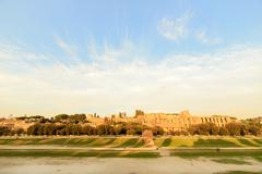 Ruins of Palatine hill palace in Rome, Italy. SunSet - stock photo