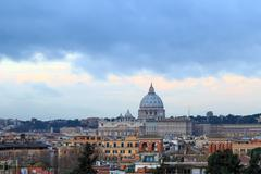 Dome of St. Peter's Basilica at SunRise. Rome, Italy Kuvituskuvat