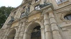 The Bayerische Nationalmuseum's front doors in Munich Stock Footage