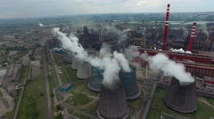 Big Smoke Pipe thermal power plant aerial Stock Footage