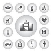 basic icon for hospital - stock illustration
