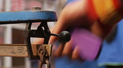 Weighing with old scales, Chinese market Stock Footage