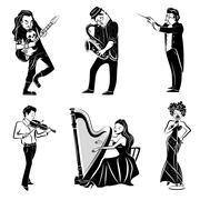 Musicians black icons set Stock Illustration